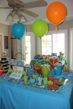 "Surf/Beach / Birthday ""Surf's Up"" Teen Beach Party, Ocean Party, Summer Pool Party, Water Party, Summer Birthday, Luau Party, 2nd Birthday Parties, Birthday Fun, Birthday Ideas"