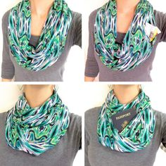 """A fashionable scarf that doubles as a """"money belt"""" or """"bra stash"""" given its hidden pocket. Love this for travelers!"""