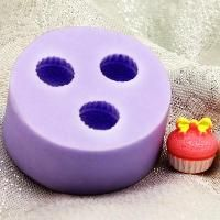 Three cupcake silicone mold - resin jewelry making - $5.95