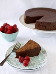 We make a flourless chocolate cake like this based on a recipe in the Joy of Cooking. Cover it in raspberry preserves as well as fresh raspberries... it's the best cake EVER.