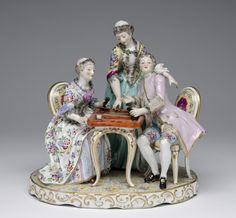 Figure of a Lady and Gentleman Playing Backgammon Made by the Samson porcelain factory Late 19th century
