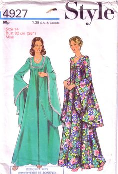 1970's Misses' Dress Pattern / UNUSED vintage sewing pattern for hostess dress…