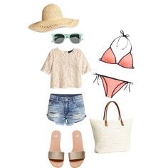 h&m beach outfit by indirag on Polyvore featuring H&M