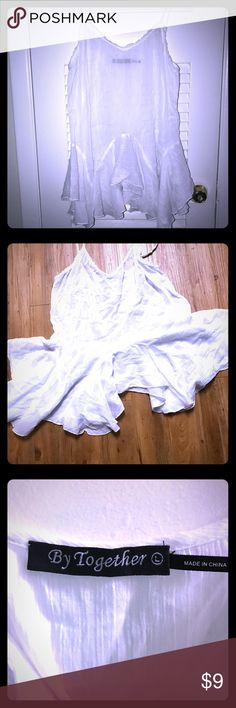 White Gauze Frilly Peplum Gauzy lightweight peplum is perfect when you need a little extra length undefined a nice blouse. I used it for layering, but it's only been worn twice, EUC. It is very sheer, so plan accordingly! 👀🙈 By Together  Tops Tank Tops