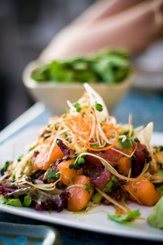 Japanese Tuna and Salmon Poke Salad / with Octopus, Sweet Maui Onions, and Sprouts. via That Kind of Woman. #food