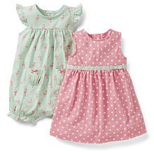 Carter's Girls 2 Pack Flamingo Print Flutter Sleeve Romper and Pink Polka Dot Printed Sleeveless Dress with Diaper Cover