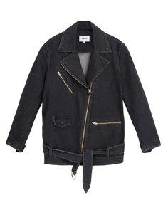 CITE - Biker jacket - Washed Black Denim Biker Jacket, Nike Jacket, Leather Jacket, Biker Style, Black Denim, Model, How To Wear, Jackets, Collection
