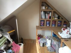 Half of the cardboard shelving for my work room