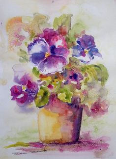Aquarelle Originale Dam Domido  Bouquet de Fleurs  Flower Akoun watercolor