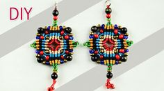 Macramé Cross-shaped Earrings Tutorial. I just made for myself on different colors today and they turned out very beautiful..:)