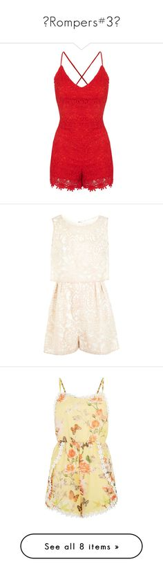 """♥Rompers#3♥"" by lessalice ❤ liked on Polyvore featuring jumpsuits, rompers, romper, dresses, playsuits, red, dressy jumpsuits, lace jumpsuit, fancy rompers and topshop romper"