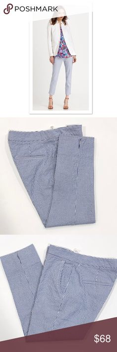 """Theory Blue & White Cropped Seersucker Pants Theory Blue & White Cropped Seersucker Pants  Excellent condition! One super small spot (see pic)   Size: 4 Inseam: approx 24.5"""" Rise: approx 8"""" Theory Pants Ankle & Cropped"""