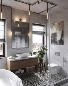 Bathroom design ideas are very attractive. For those of you who are looking for inspiration for a luxurious, modern bathroom design, to a simple bathroom design. Industrial Bathroom Lighting, Bathroom Lighting Design, Industrial House, Industrial Interiors, Bathroom Styling, Bathroom Interior Design, Industrial Style, Bathroom Designs, Bathroom Ideas