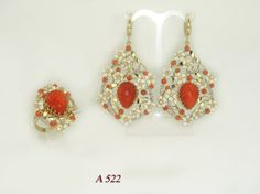 Stunning and Large Antique Handmade Coral Enamel by LuxuryGolds, $3899.00