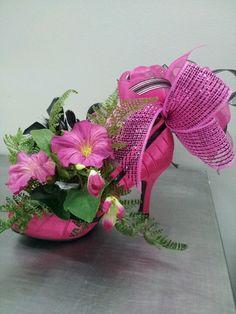 High heeled shoe centerpiece.