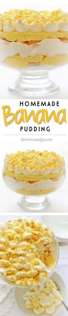 Homemade Banana Pudding Homemade Banana Pudding - dreamy, easy to make Southern dessert; real pudding, the way it was made before instant pudding and Cool Whip were invented - Southern Desserts, Köstliche Desserts, Delicious Desserts, Dessert Recipes, Yummy Food, Layered Desserts, Pudding Desserts, Homemade Banana Pudding, Banana Recipes