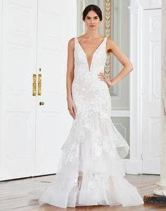 Every bride deserves to be the centre of attention on her big day! The Mandurah strapless mermaid wedding dress is covered with bold floral lace motifs that flow across the bodice into dramatic ruffles that add extra flair and fullness. Tiffany's Bridal, Stella York, Formal Dresses, Wedding Dresses, Mermaid Wedding, Floral Lace, Big Day, Ruffles, Flow