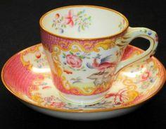 Minton ANTIQUE Twist-Handle PINK DEMI  Tea cup and saucer