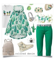 """colored denim"" by tato-eleni ❤ liked on Polyvore featuring Kenzo, MICHAEL Michael Kors, B&O Play and Ray-Ban"