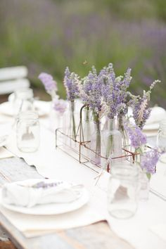 Lavender in bottles - french bar glass holder for the table centerpiece