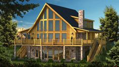 """""""The Henderson"""" is one of the many log cabin home plans from Southland Log Homes. You can customize the Henderson to meet your exact needs with our free design tools."""