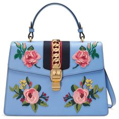 Gucci Sylvie Embroidered Leather Top Handle Bag (215.360 RUB) ❤ liked on Polyvore featuring bags, handbags, shoulder bags, bolsas, gucci, light blue, leather handbags, blue leather purse, leather flower purse and light blue purse