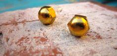 Hex Nut Cap Earrings // Brass // Handmade // by hardlyExpected