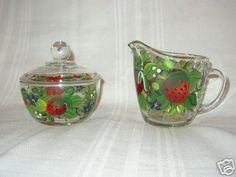 Hand Painted SUGAR & CREAMER with STRAWBERRIES by artisticangel, $25.00