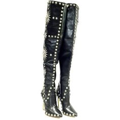 Pre-owned Leather Thigh High Black Boots (41.110 RUB) ❤ liked on Polyvore featuring shoes, boots, black, over the knee leather boots, black over-the-knee boots, over-knee boots, thigh-high boots and black thigh-high boots