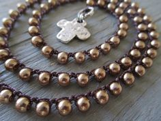 Bronze pearl crochet necklace - PURE - glass pearl hammered artisan sterling silver cross fall autumn religious boho by slashKnots on Etsy, $67.00
