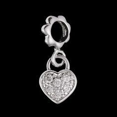 Pingente de prata com ródio círculo e coração com zircônia