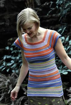 The crochet and striping give this a retro feel. Would probably make it long enough to be a dress and then could use alone or as a layer.