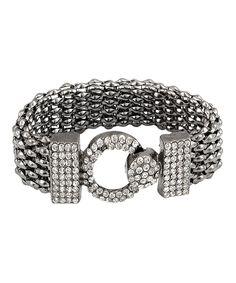 Look at this #zulilyfind! Crystal & Black Rhodium Embellished Bracelet by Silver & Co. #zulilyfinds