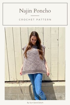 Looking for the perfect fall garment? This beginner-friendly crochet poncho is it! It is great as a first garment pattern for new crocheters. This poncho is made in 2 pieces and seamed together. This design features double crochet and granny stripe. Crochet Poncho Patterns, Stitch Patterns, Double Crochet, Skirts, Sweaters, How To Make, Tops, Women, Fashion