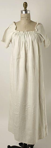 Chemise 1810s, American or European, linen