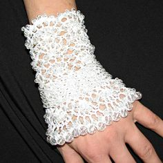 One bracelet/cuff...Free form beaded crochet bracelet with acrylic beads and cotton thread width 13 cm / 5.1 in length 19 cm/7.5 in   READY TO SHIP I ship