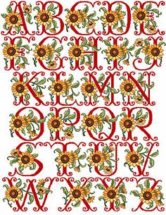 "ABC Designs Sunflowers Alphabet in Machine Cross Stitch Embroidery 5""x7"" Hoop"
