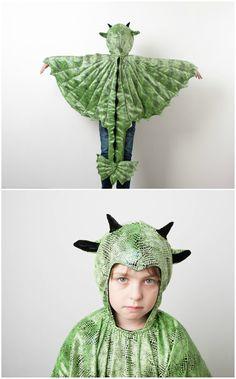 Grünes Drachenkostüm mit glänzenden Schuppen, ein tolles Kostüm für Kinder zu Halloween, Fasching oder Karneval / awesome halloween costume for kids: dress up as a green dragon - carnival costume made by oKidz via DaWanda.com