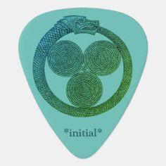 Customizable Guitar Pick OUROBOROS w/SPIRALS teal Irish Celtic, Dragon Slayer, Greek Art, Guitar Picks, Rainbow Unicorn, Spirals, Initials, Teal, Symbols