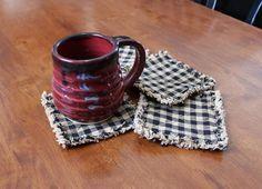 Primitive Rag Coasters set of 4 Farmhouse Coasters image 3 Quilted Coasters, Fabric Coasters, Scrap Fabric Projects, Fabric Scraps, Sewing Projects, Sewing Tips, Sewing Ideas, Sewing Patterns, Farmhouse Coasters