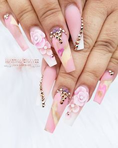 Nail Art Designs In Every Color And Style – Your Beautiful Nails Fancy Nails, Bling Nails, 3d Nails, Swag Nails, Cute Nails, Pretty Nails, Rhinestone Nails, Long Nail Designs, Beautiful Nail Designs
