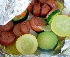 Sausage & Summer Vegetable Packets #freezercooking #camping #grilling #oamc