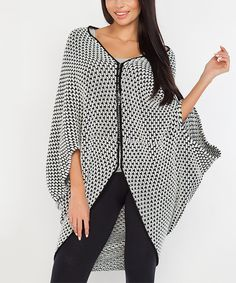 Look at this #zulilyfind! Ecru & Black Wool-Blend Cape-Sleeve Cardigan by Fobya #zulilyfinds