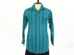 2b8cb27f Vintage 1980s Western style shirt, in teal with vertical black, blue and  yellow stripes