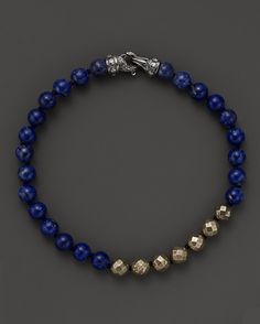 Scott Kay Lapis and Faceted Pyrite Beaded Bracelet | www.goldcasters.com