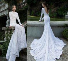 2014 New Long Sleeve Mermaid Lace Wedding Dress Custom Size | eBay