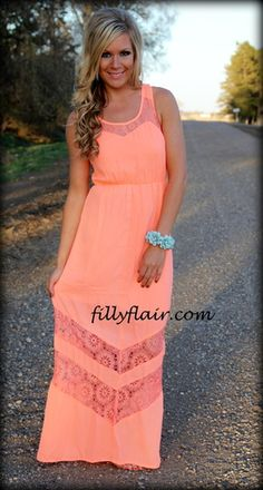 Love this neon coral lace dress with a jean jacket or little sweater Coral Lace Dresses, Lace Maxi, Pretty Dresses, Beautiful Dresses, Coral Maxi, Maxi Dresses, Summer Outfits, Cute Outfits, Summer Dresses