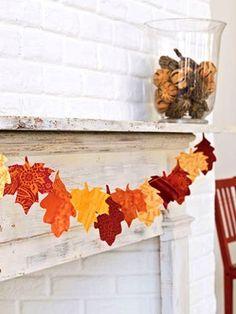Scrap paper leaf garland