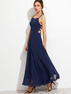 Robe à bretelle dos avec lacet - Bleu marine - SheIn