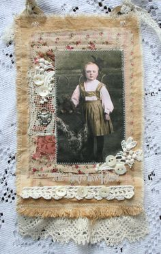 Miss Sassafrass HANDMADE Fabric Collage Hanger using antique laces. $17.95, via Etsy.